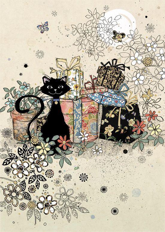 Живыми розами, открытки с днем рождения с черными котами
