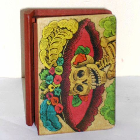 Mexican Day of the Dead Wooden Box - book shape