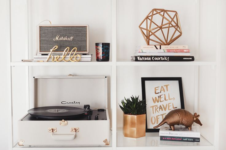 west elm Etched Armadillo and Hello Word Object are perfect accessories for a beautifully arranged bookshelf.