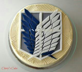 Attack on Titan, Wings of Freedom, Survey Corps, Scout Regiment, crest, cake; Anime Food