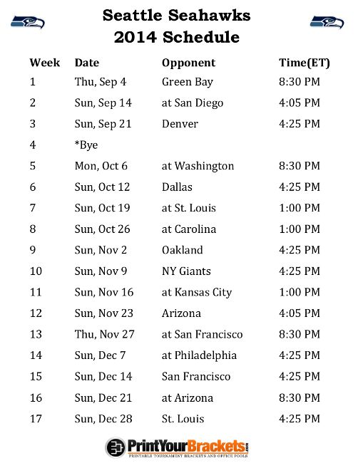 Printable Seattle Seahawks Schedule - 2014 Football Season