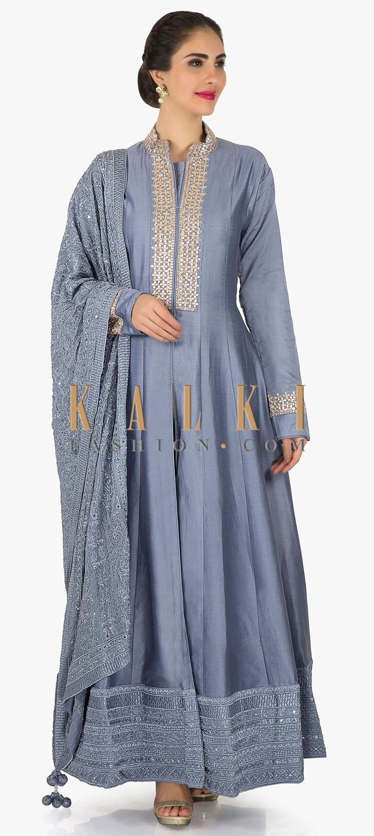 Buy Online from the link below. We ship worldwide (Free Shipping over US$100) Click Anywhere to Tag Lavender blue anarkali suit in silk with embroidered placket only on Kalki Lavender anarkali suit featuring in raw silk. Collar and placket are embellished in gotta patch embroidery. Matched with unstitched bottom fabric in santoon and dupatta with thread embroidery.
