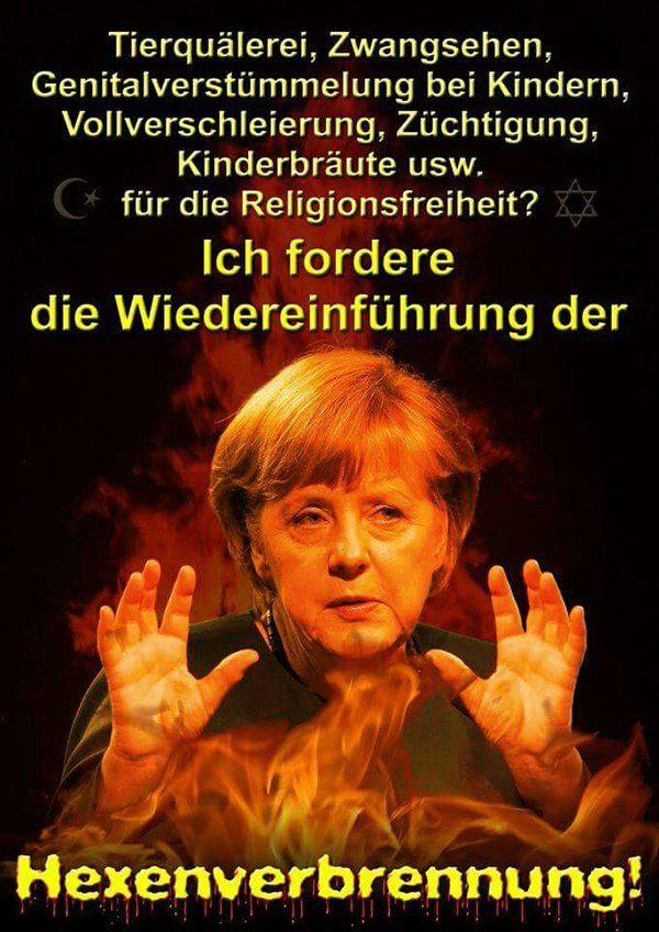 Tierquälerei, Zwangsehen, Genitalverstümmelung bei Kindern, Vollverschleierung, Züchtigung, Kinderbräute etc. für die Religionsfreiheit? Ich fordere die Wiedereinführung der Hexenverbrennung!