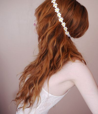 ♛ We Heart Hair♛: Auburn Hair, White Flowers, Head Bands, Flowers Headbands, Red Hair, Dreams Hair, Gingers Girls, Hair Accessories, Gingers Hair
