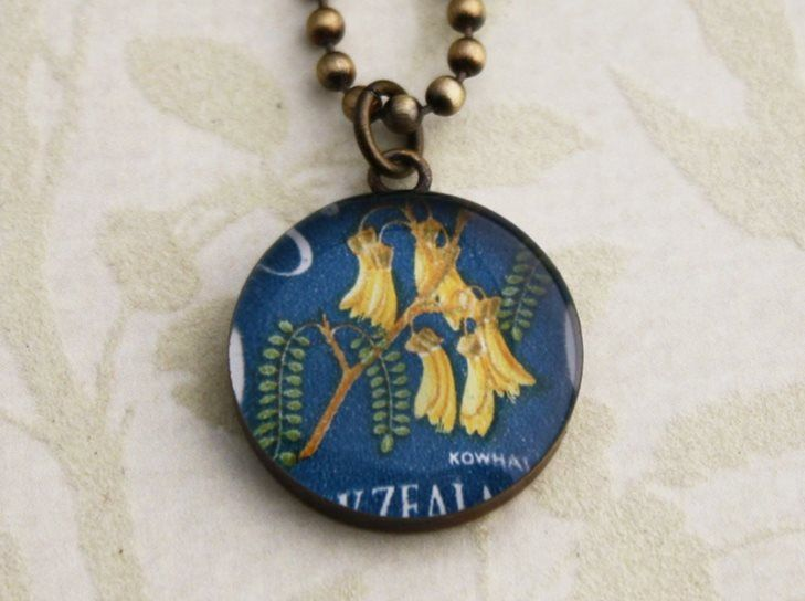 New Zealand kowhai postage stamp necklace | Flame Red