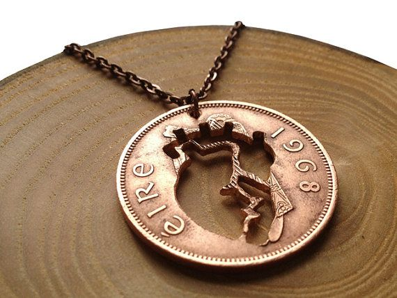 Handcut coin necklace Anatomical heart by MAgneShop on Etsy