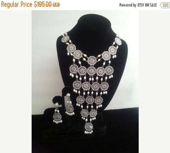 On Sale Huge White Beaded Long Bib Necklace  White Enamel