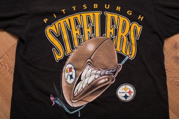 Vintage 90s Pittsburgh Steelers Angry Football T-Shirt, Artex Sportswear, NFL Fan Apparel