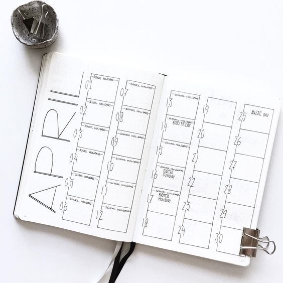 """1,227 Likes, 11 Comments - _INTOSIMPLE (@_intosimple) on Instagram: """"Oh hi April! . . . . . . #monthlylayout #april #monthlyspread #bulletjournalspread #bulletjournal…"""""""