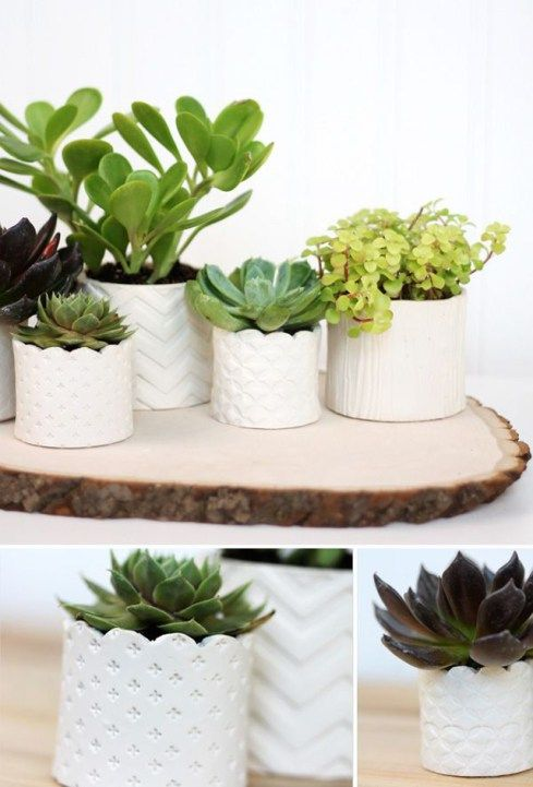 ideas diy para decorar macetas con arcilla blanca estampada