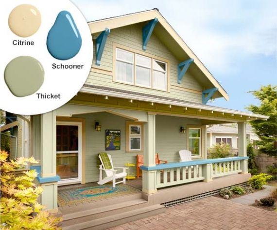 Bright, playful colors highlight the square columns, triangular arch, and knee brackets that give this back porch hang-out its Craftsman style. Paint: Benjamin Moore's Schooner (brackets), Citrine (trim), and Thicket (siding)
