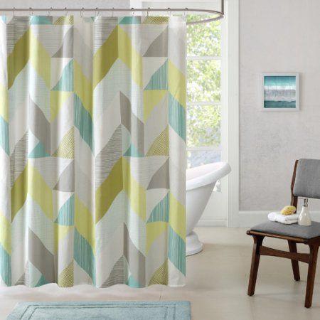 Home Essence Apartment Tivoli Cotton Printed Shower Curtain, Blue