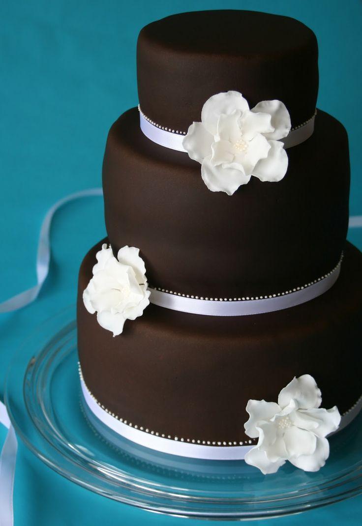 Chocolate Wedding Cake W White Flowers