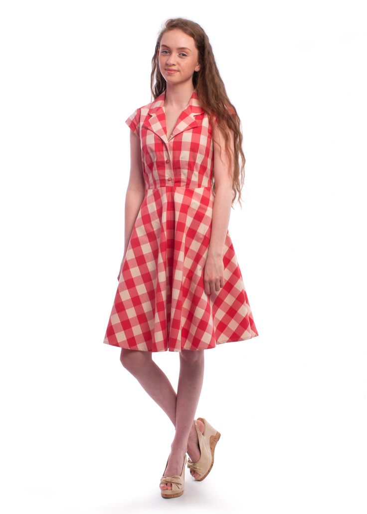#1950s style Ava check shirt dress from Circus #dress #check #red #summer #vintagestyle
