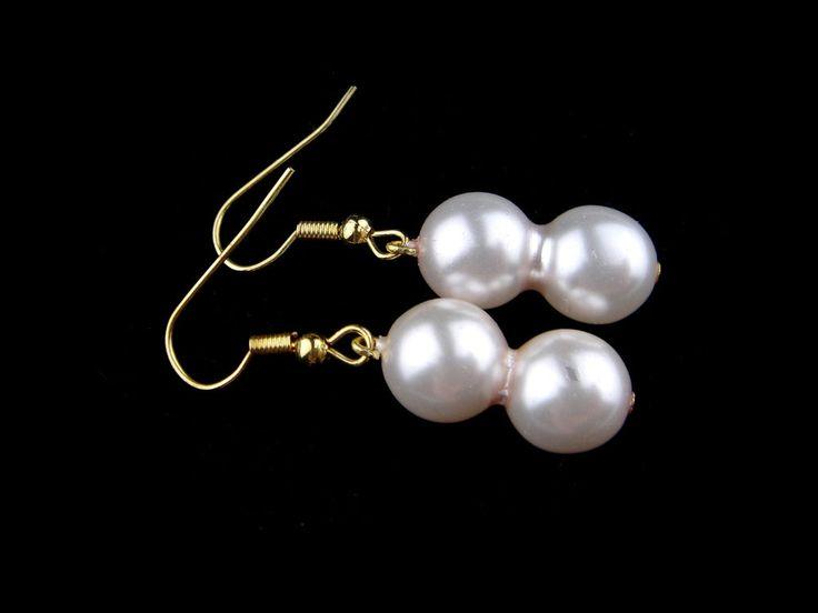 Vintage Czech Glass Earrings Art Deco Dangle Drop Faux Pearl Gold Tone