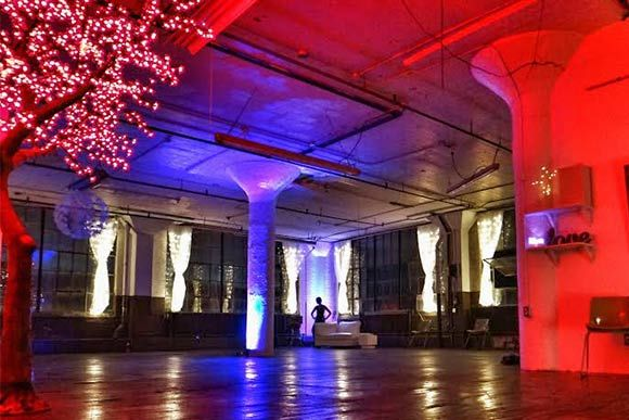 GLO Cleveland space at the Artcraft Bldg 2530-2570 Superior Avenue, Cleveland OH. Proceeds from event space rental fund artists' programming