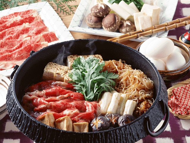 Sukiyaki. beef, tofu, unions, mushrooms, clear noodles, all in a broth cooked together. With rice and miso soup.