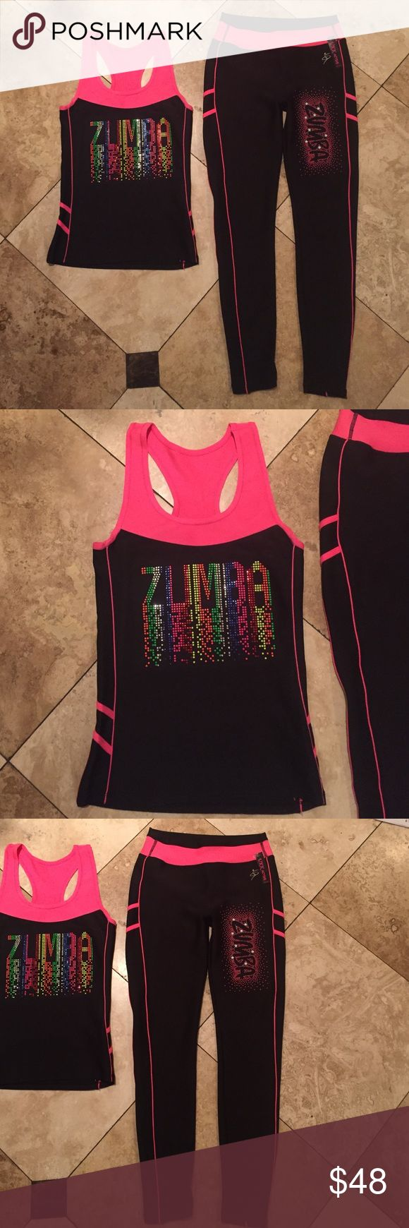 Zumba outfit New size large/Xlarge material is 92% nylon 8% spandex Other