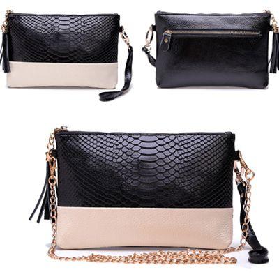 2014 Crocodile Genuine Leather Women Day Clutch Tassel Handbags Alligator Print Chain Shoulder Bag Women Clutch HB-120