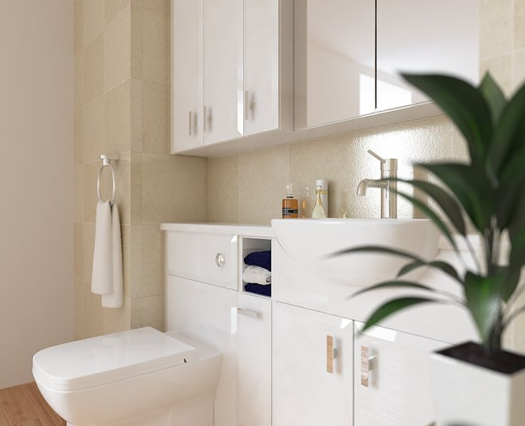 Modena - These stunning bevelled style doors and drawers add another dimension to slimline white gloss furniture.