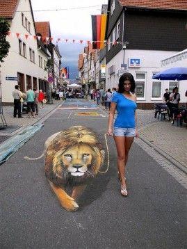 Art de rue : Peinture 3D et effet d'optique