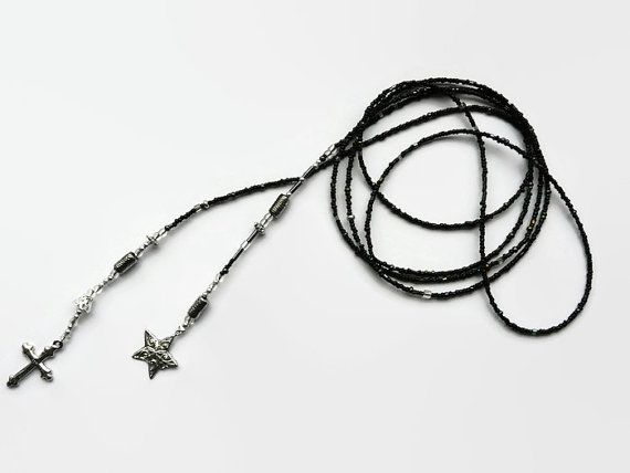 Lariat seed bead necklace black, silver, long necklace, black, silver, glass beads, metal charms, cross, star, metal Bali beads, gothic