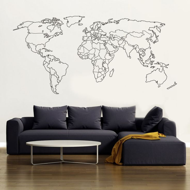 Uppritad världskarta väggdekor
