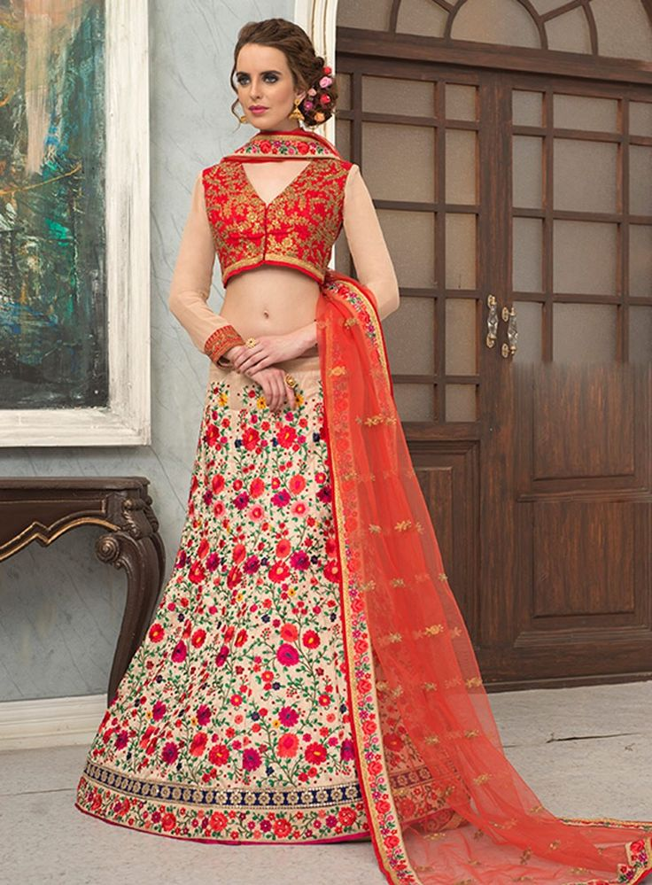 Cream heavy floral embroidered Indian Jaipuri ghagra choli in silk F17049