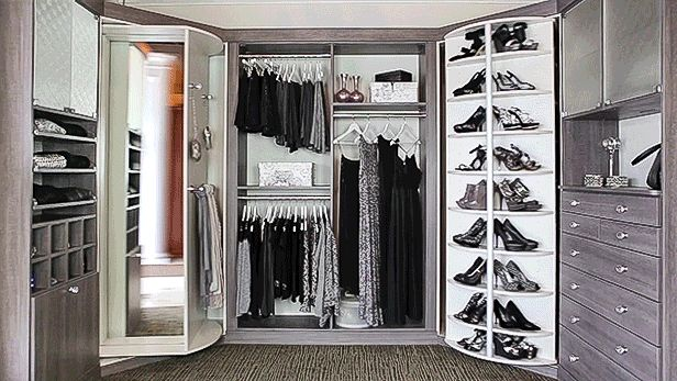 Closet Space with Front and Back Sides of the 360 Organizer® Shoe Spinner