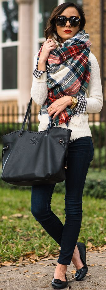 Plaid On Cream On Gingham Fall Street Style Inspo by Sequins & Things