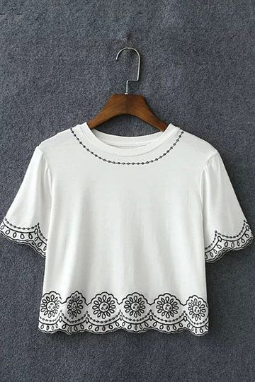 Black Embroidery Short Sleeve Cropped T-shirt from mobile - US$17.95 -YOINS