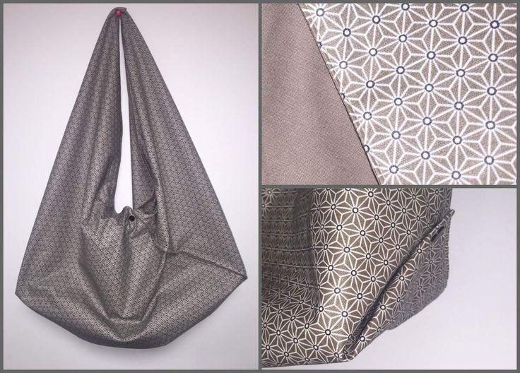 Bonjour,  Je vous présente ma version du sac origami. C'est un modèle facile à faire et avec peu de couture. J'ai choisi un coton enduit origami pour l'extérieur et un coton uni pour l'intérieur. Les tissus sont dispo ici: http://www.e-mercerie.com/coton-enduit-origami-laize-160-cm-12811-p.asp...