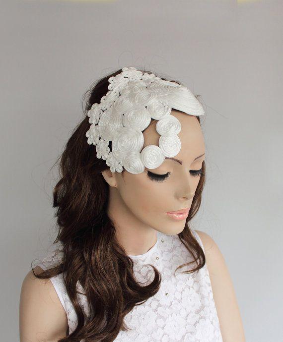Bridal Hair Fascinator Weddings Headdress Head by MammaMiaBridal, $65.00