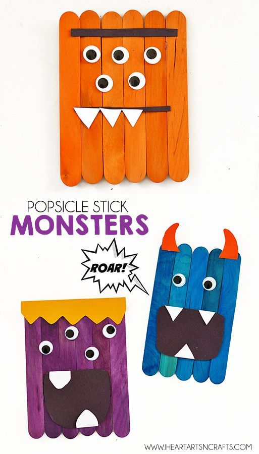 Easy Popsicle Stick Monsters--For older kids have them write directions to build a monster out of popsicle sticks and let a partner build it using directions-Jill
