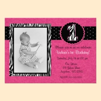 Pink Zebra Print Girls 1st Birthday Invitation. Invite your guests to your little one's first birthday in a cute and fun way with this adorable pink zebra print birthday invitation.