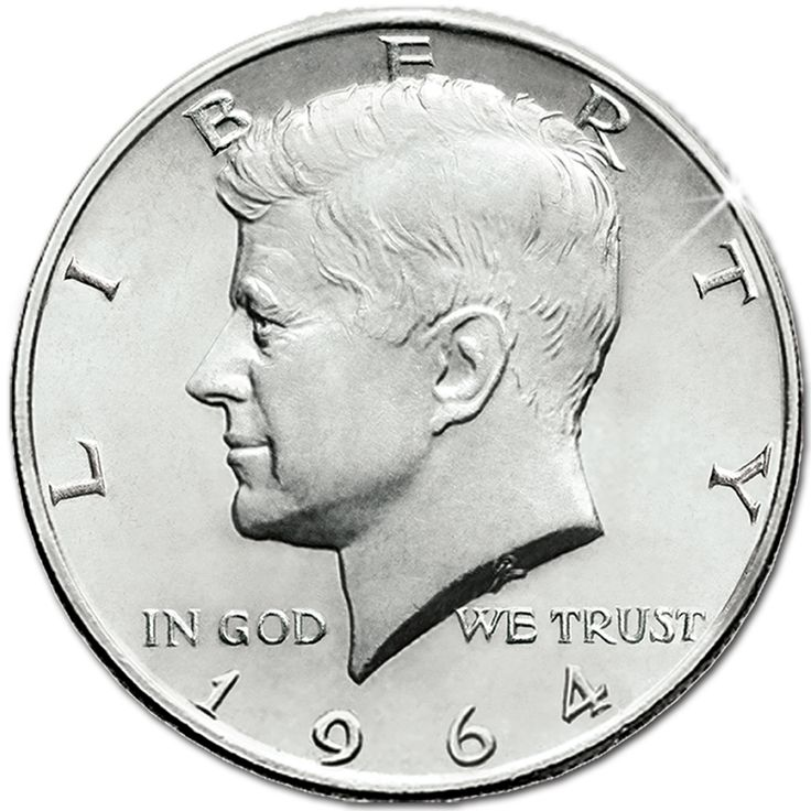 1964 Kennedy half dollar, the first one issued