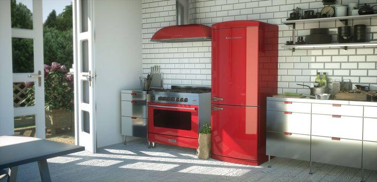 A modern kitchen  #Bompani #architettura #design #arredamento #MadeInItaly #ItalianCulture #ItalianCuisine #fridge #frigorifero #red #forno