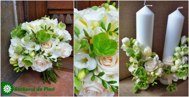 Buchet de mireasa alb crem verde (2)