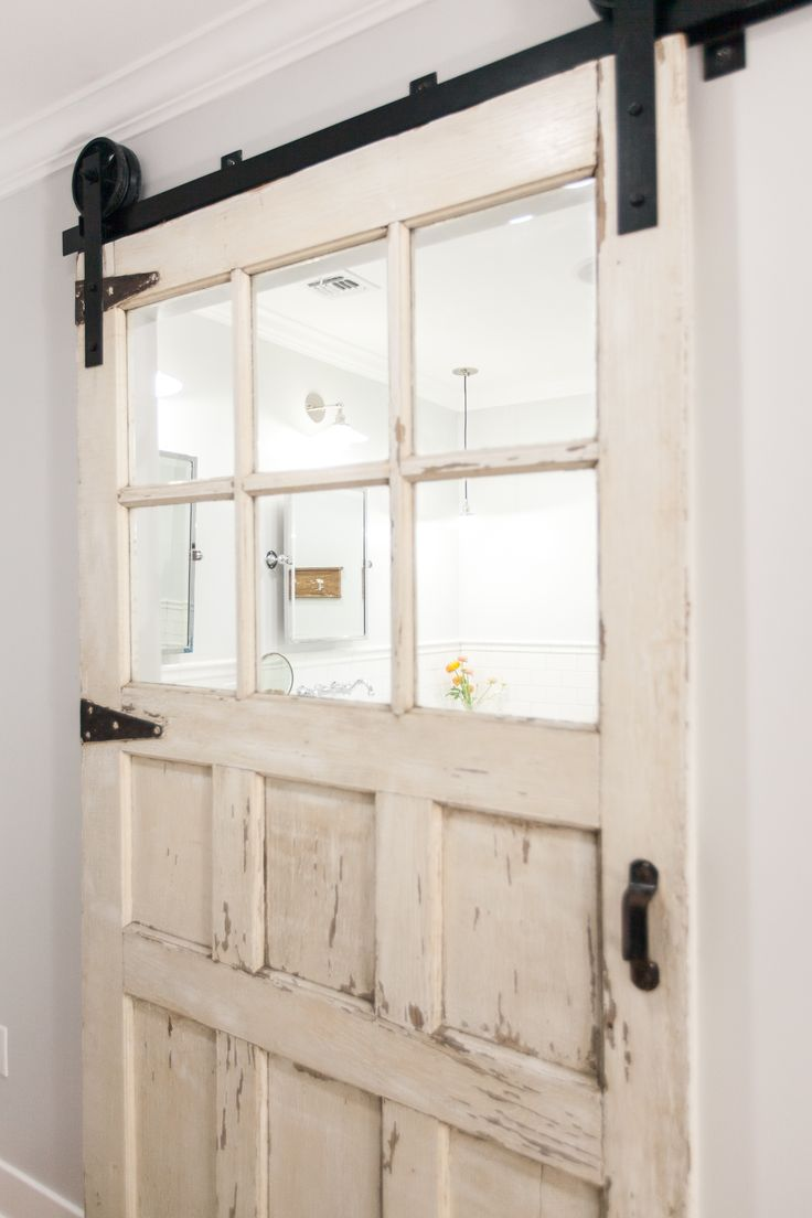 Sliding bathroom entry doors - Carriage Style Door On Barn Sliding Track As Master Bath Entry Door As Featured On