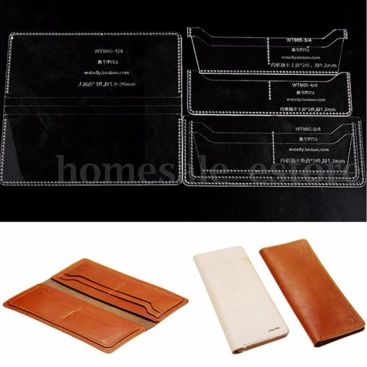 Leather Wallet 8 Card Case Slots Pattern Craft Acrylic Template Set Handcraft