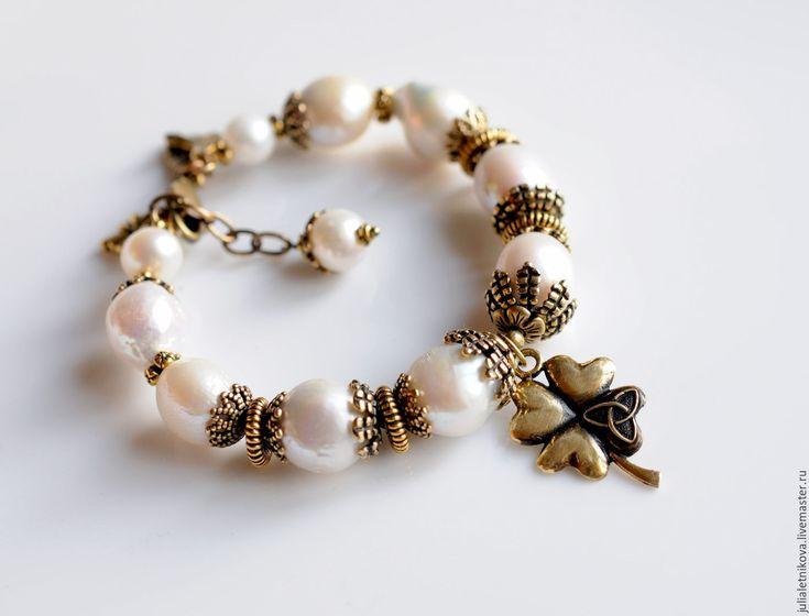 """Купить """"УДАЧА"""" браслет - бэнгл, жемчуг Касуми, авторская бронза - браслет с жемчугом"""