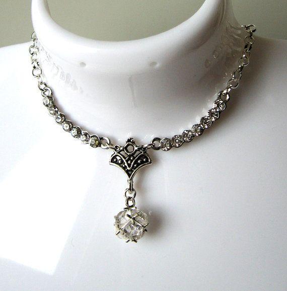 Bride / Bridesmaid Chain Short Necklace Art Nouveau by SunEnerChic