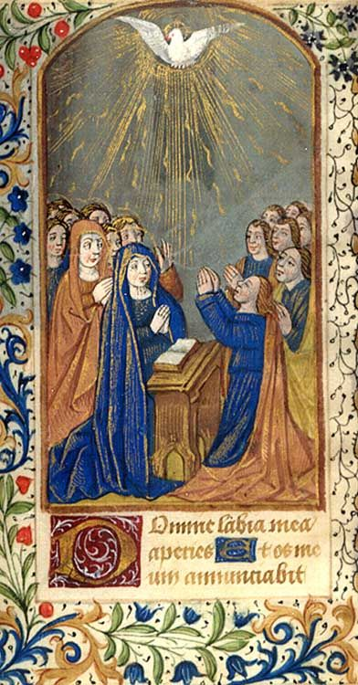 Illuminated manuscript leaf with full page miniature painting, 1450 (credit: Special Collections and University Archives, Stony Brook University).