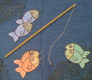 fun kids fishing toy... magnet for the hook and paperclip in fishes mouth! Four year olds would love this!