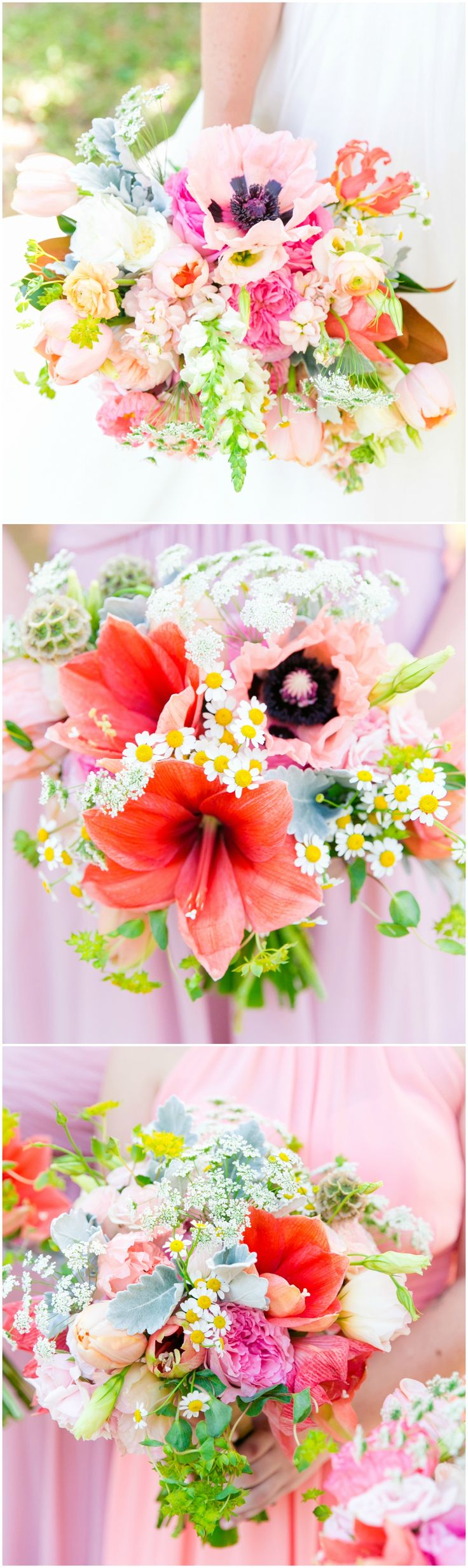 Colorful wedding bouquets, scabiosa pods, hibiscus, summer flowers, pink bridesmaid dresses