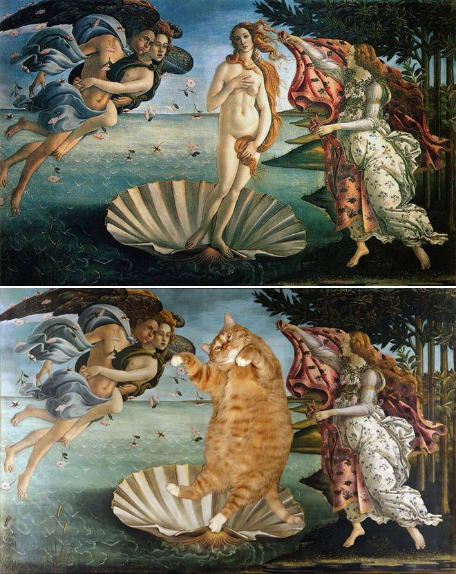 don't get me wrong - I LOVE great art.  But this desecration of Boticelli made me laugh.  And the Monet was a close second.: Cat Art, Paintings Improvements, Cat Paintings, Fat Cat, Art History, Ginger Cat, Silly Cat, Famous Paintings, Famous Art