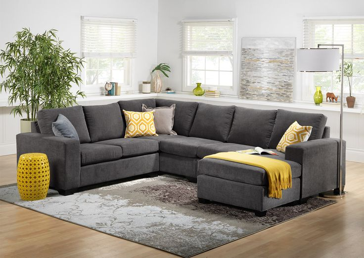 You First. Put yourself first with the stretch-out-and-relax comfort of the Danielle sectional! This generously sized sectional doesn't put style second, either - contemporary design elements include ample track arms, clean-lined cushions and an of-the-now grey colour. The U-shaped design allows room for many friends, but make sure you reserve the lounge-ready chaise for yourself! Made in Canada. Three-piece sectional includes left-facing loveseat, corner wedge and right-facing chaise, as…