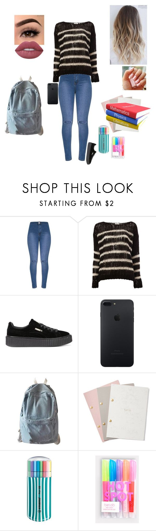 """Studying @ The Local Bistro"" by sonialicetmartinez ❤ liked on Polyvore featuring Yves Saint Laurent, Puma, WithChic, StudioSarah, Stabilo, ban.do and Lime Crime"