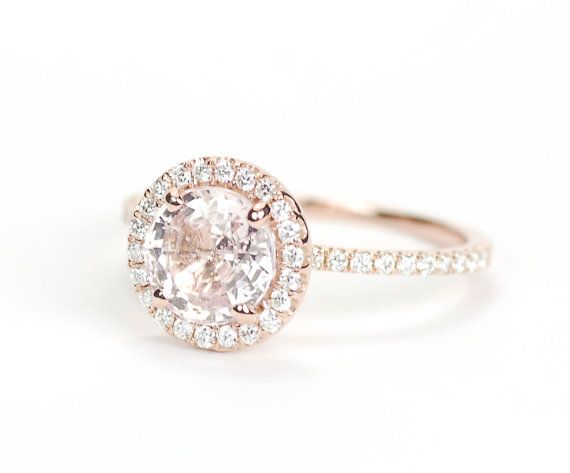 Certified Round Peach Champagne Shire Diamond Halo Engagement Ring 14k Rose Gold Dunno Where These Came