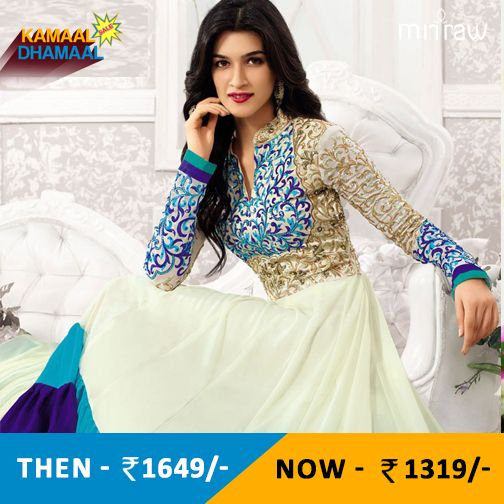 White embroidered georgette semi-stitched salwar.Shop Now- http://bit.ly/1TNc0Ra